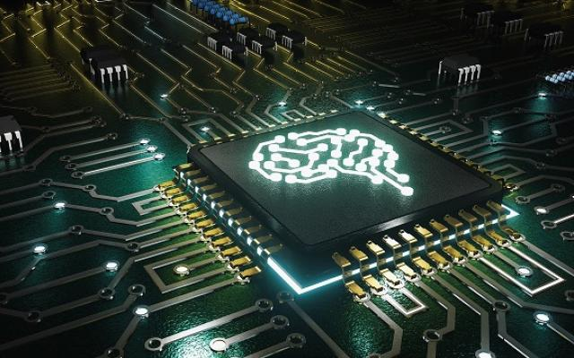 Picture of an electronic brain in a circuit board