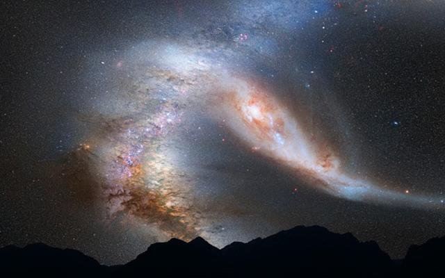 Photo of the Andromeda Galaxy over mountains