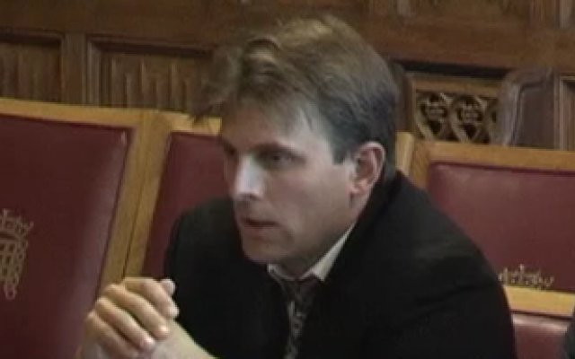 Lucas Kello giving evidence at the House of Lords