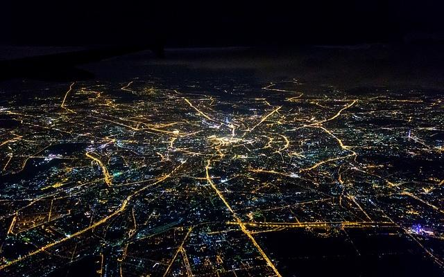 Image of Moscow at night, taken from above