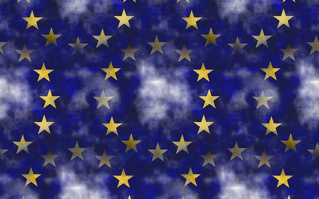 Image of repeating pattern of stars from the European Union flag
